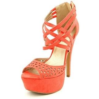 Famous Name Brand Anew Women Open Toe Synthetic Orange Platform Heel