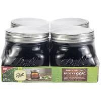 Ball(R) Wide Mouth Canning Jars 4/Pkg-Pint Elite Color Series Amber, 16Oz