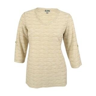 JM Collection Women's Wave Textured Jacquard Blouse