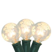 Set of 10 Warm White G40 Snowflake Globe Christmas Lights - Green Wire