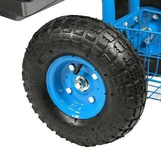 Sunnydaze Rolling Garden Cart with Steering Handle, Swivel Seat & Basket