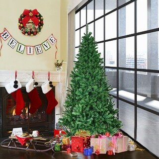 Costway 6' PVC Artificial Christmas Tree Premium Hinged w/ Solid Metal Legs 1000 Tips