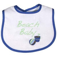 "Raindrops Baby Boys Royal Blue ""Beach Baby"" Embroidered Bib - One size"