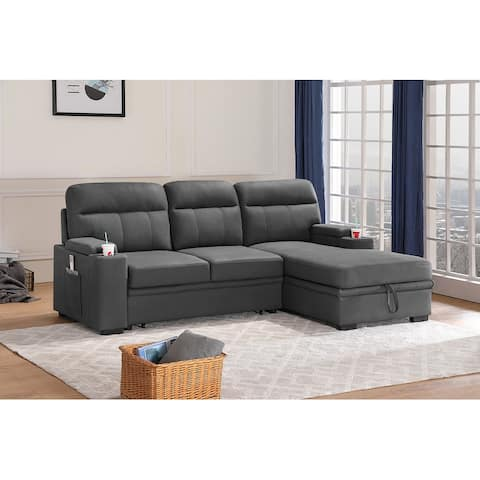 Kaden Gray Fabric Sleeper Sectional Sofa Chaise with Storage Arms and Cupholder