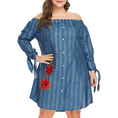 QZUnique Plus Elastic Off Shoulder Flower Jean Dress Button Closure Loose Midi Stripe Denim Dress