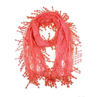 Women's Fancy Sheer Lace Scarf With Fringe Drops Coral Color
