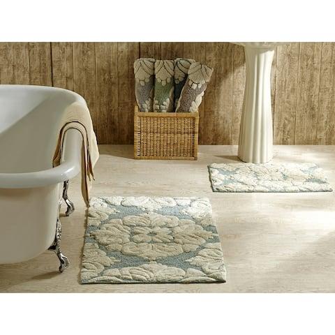 Better Trends Medallion Collection 2 Piece Set Bath Mat Rug 100% Cotton