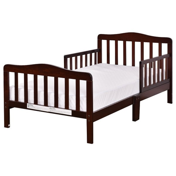 Costway Baby Toddler Bed Kids children Wood Furniture w/ Safety Rails Brown