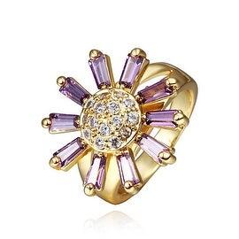 Gold Plated Lavender Citrine Floral Ring