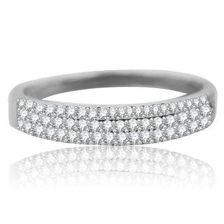 10K White Gold Wedding Band Anniversary Ring Genuine Diamonds 1/5ctw - White I-J
