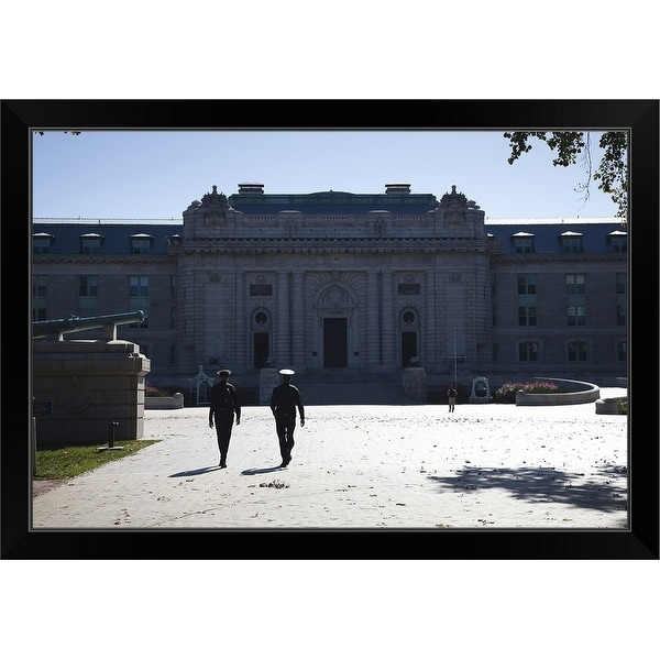"""""""Naval cadets walking in front of a building, Tecumseh Court, US Naval Academy"""" Black Framed Print"""