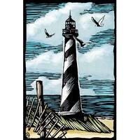 Lighthouse - Scratchboard - LP Artwork (100% Cotton Towel Absorbent)