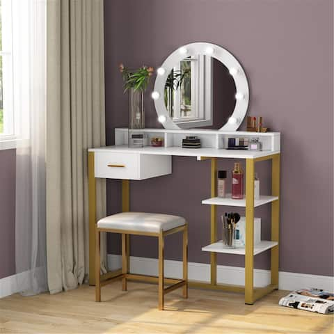 Vanity Table with Lighted Mirror and Drawer, Shelves - White/gold