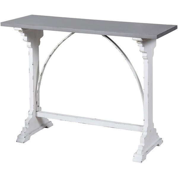 """StyleCraft SC-AF18407DS 44"""" Long Wood Accent Table with Distressed Finish - White"""