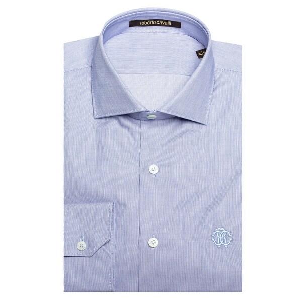 986dbf8de2 Shop Roberto Cavalli Men s Spread Collar Cotton Dress Shirt Light Blue -  Free Shipping Today - Overstock - 19398903