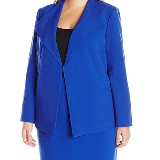 Nine West NEW Royal Blue Women's Size 22W Plus Draped Front Jacket