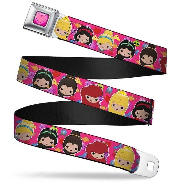 Princess Heart Full Color Pinks 6 Princess Emojis Elements Pink Webbing Seatbelt Belt