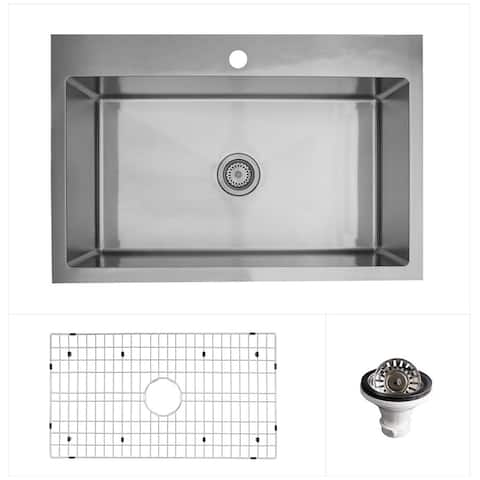 """Karran 33"""" Top Mount Single Bowl Stainless Steel Kitchen Sink Kit"""