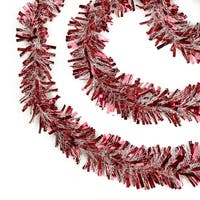 50' Red and Snowblush Wide Cut Christmas Tinsel Garland - Unlit