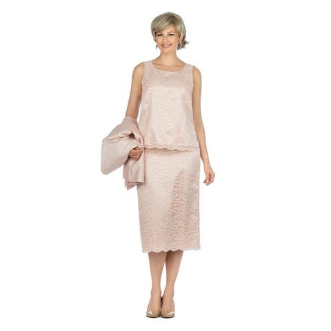 Giovanna Collection 3pc Classic Silky Twill & Lace Skirt Suit