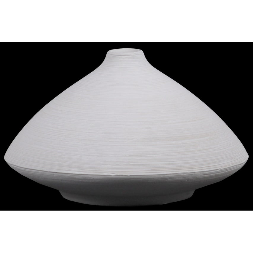 Ceramic Short Flared Belly Vase With Small Mouth And Tapered Bottom, Large, White