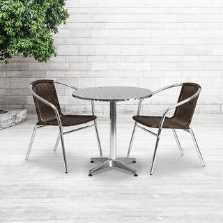 "Link to 27.5'' Round Aluminum Indoor-Outdoor Table Set with 2 Rattan Chairs - 27.5""W x 27.5""D x 27.5""H Similar Items in Patio Furniture"
