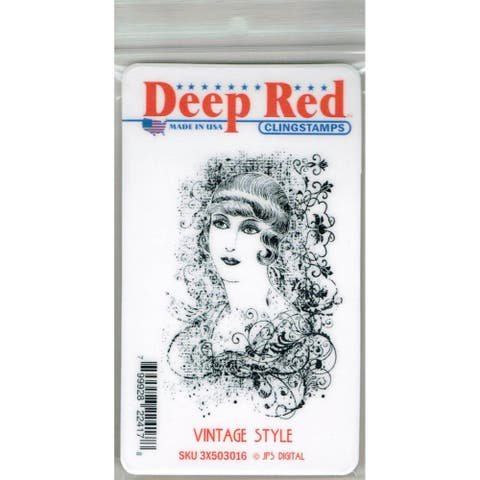 Deep Red Stamps Vintage Style Rubber Cling Stamp - 2 x 3.1