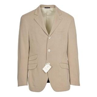 Brunello Cucinelli Mens Cotton Herringbone Sportcoat 40R 40 Regular Tan Italy