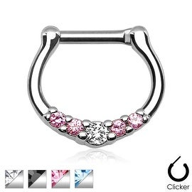Five-Gems 316L Surgical Steel Septum Clicker Ring (16 GA) (Sold Indiv.)
