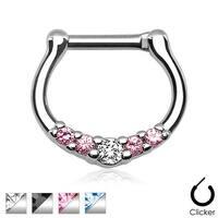 Five-Gems 316L Surgical Steel Septum Clicker Ring (16 GA) (Sold Indiv.)
