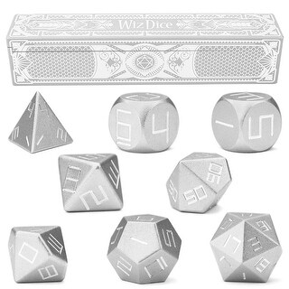 Set of 8 Mithril Silver Precision Aluminum Polyhedrals