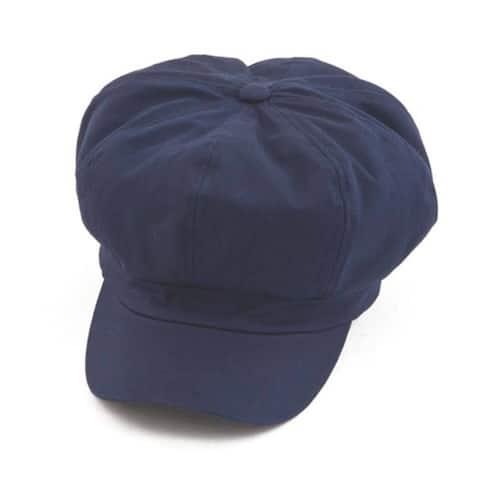 Cotton Elastic Newsboy Cap - Navy