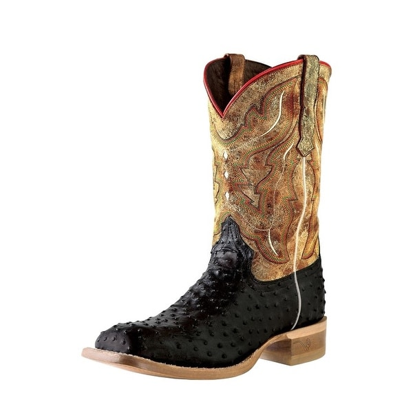 Outlaw Western Boots Mens Square Ostrich Square Black Tan Road