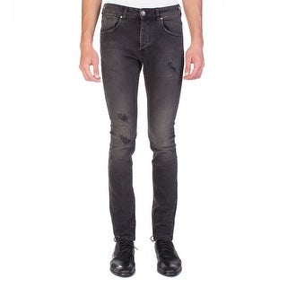 Pierre Balmain Men's Distressed Denim Jeans Pants Black