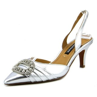 Kay Unger Fairleetoo Women Pointed Toe Leather Silver Slingback Heel