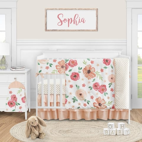 Peach Watercolor Floral Collection Girl 5-piece Nursery Crib Bedding Set - Pink and Green Shabby Chic Rose Flower Polka Dot