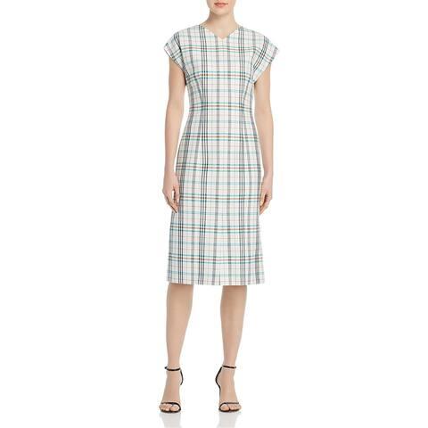 BOSS Hugo Boss Womens Daela Wear to Work Dress Plaid Slit - Vanilla Light - 10