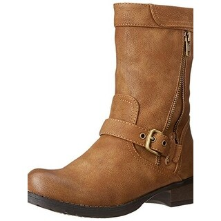 Luichiny Womens Mara Beth Motorcycle Boots Faux Leather Belted
