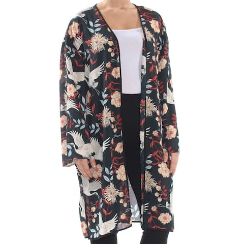 NY COLLECTION Womens Black Floral Kimono Sleeve Open Cardigan Evening Top Size: XL