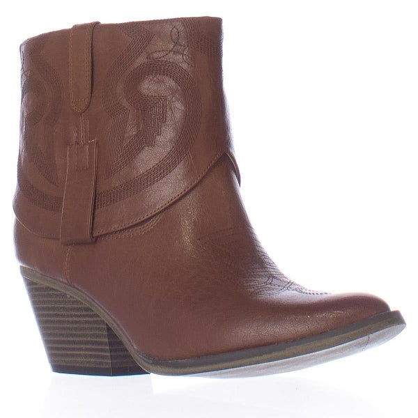 MIA Joshua Short Western Ankle Boots, Luggage - 6 us