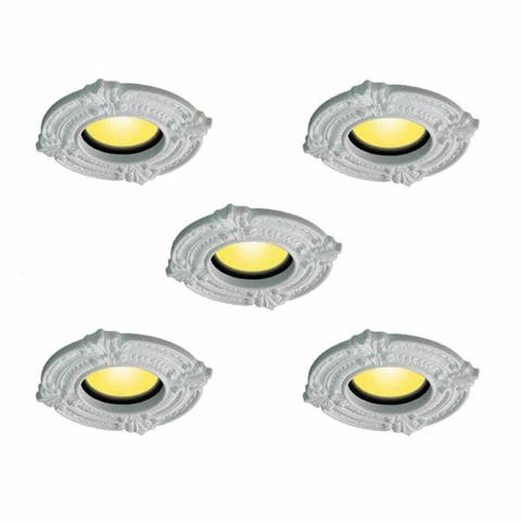 "5 Spot Light Trim Medallions 6"" ID Urethane White Set of 5 Renovator's Supply"