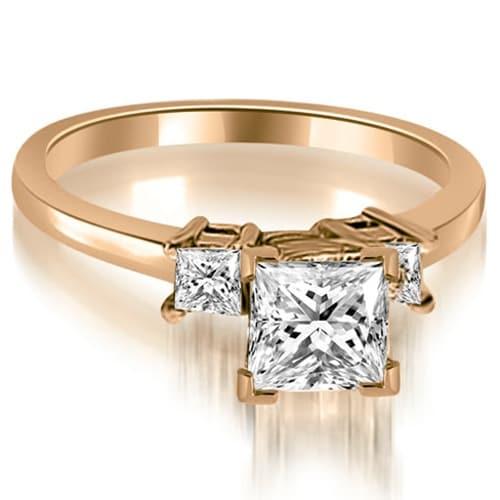 0.85 cttw. 14K Rose Gold Princess Cut Diamond Engagement Ring