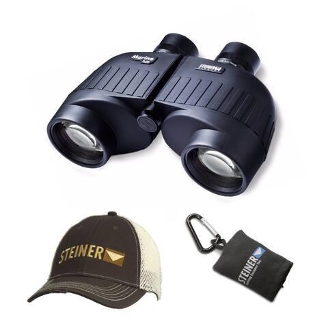"Steiner 7x50 Marine Binoculars with Cap & Microfiber Lens Cloth Pouch - 5.5"" x 8.1"" x 3.0"""