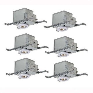 Canarm RI3NC1TG-6 GU10 Adjustable Recessed Trim and New Construction Housing - Pack of 6