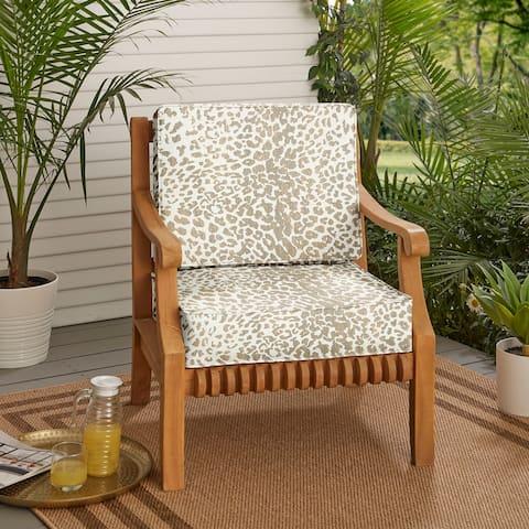 """Sunbrella Tan Leopard Indoor/Outdoor Deep Seating Cushion Set, Corded - 23.5"""" x 23"""" x 5"""""""