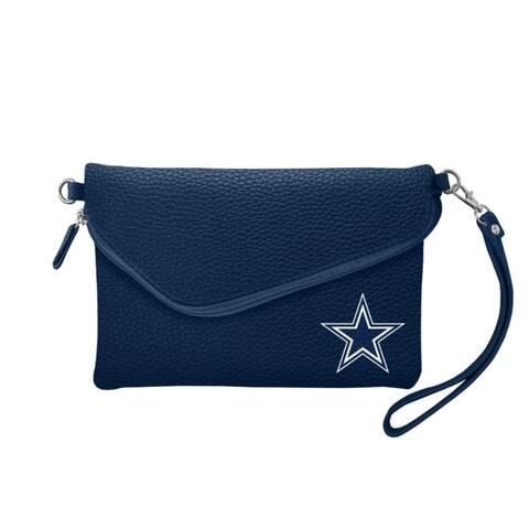 Dallas Cowboys Purse Pebble Fold Over Crossbody Navy - 9x6x1 inches