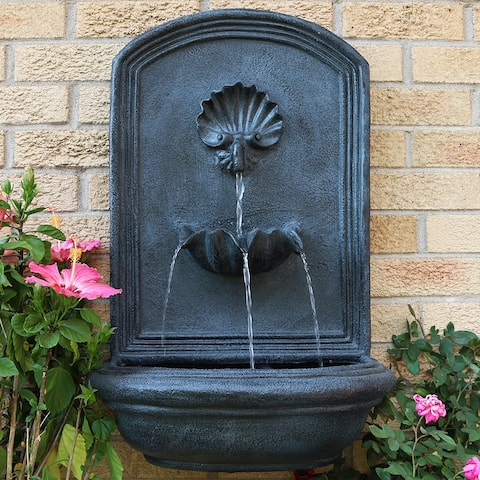 """Seaside Solar-Only Outdoor Wall Water Fountain - 27"""" - Lead Finish"""