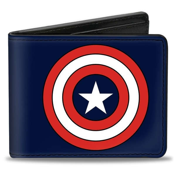 Marvel Comics Captain America Shield Full Color Navy Bi Fold Wallet - One Size Fits most