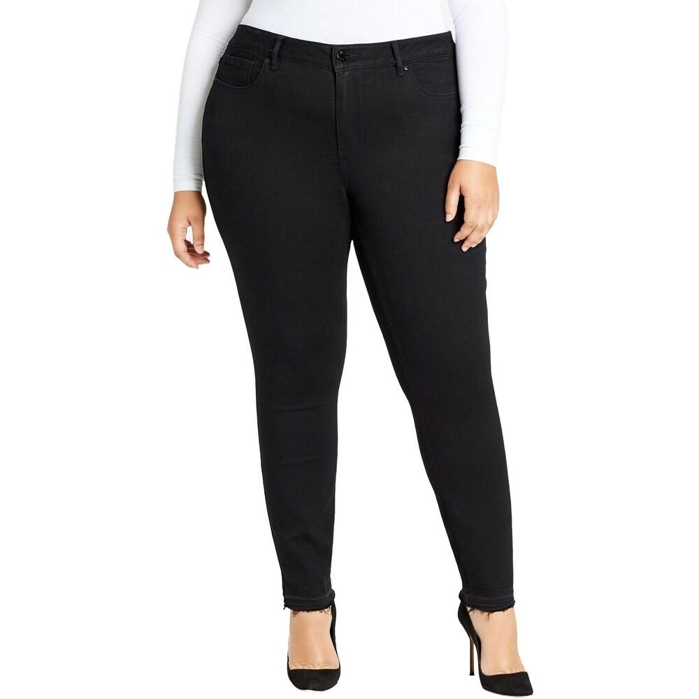 William Rast Womens Plus Colored Skinny Jeans Released Hem High Rise - Black