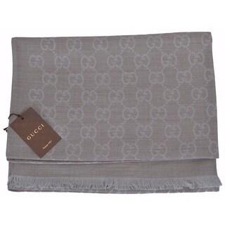 "Gucci 362654 Wool Silk Blend Grey GG Guccissima Large Muffler Scarf - 28"" x 78"""
